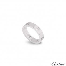 Cartier White Gold Half Diamond Love Ring Size 52 B4032500